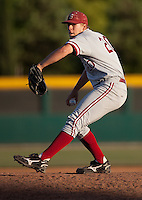 STOCKTON, CA - May 9, 2011: Elliott Byers of Stanford baseball pitches during Stanford's game against Pacific at Klein Family Field in Stockton. Stanford won 11-5.