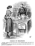 """Change of Treatment. Miss Erin. """"Shure, ye never gave me the 'Royal Commission Elixir' that was to do me so much good."""" Arth-r B-lf-r. """"No, my dear, there was some mistake in the first prescription. I'll make you up another dose!!"""""""