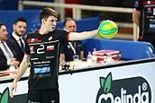 20th March 2018, PalaTrento, Trento, Italy; CEV Volleyball Champions League, playoffs, 1st leg; Trentino Diatec versus Chaumont VB 52 Haute Marne; 2 Michael Saeta USA ready to serve