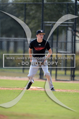 Joshua Thompson (24) of Highlands Ranch, Colorado participates in the Baseball Factory All-America Pre-Season Rookie Tournament, powered by Under Armour, at Lake Myrtle Sports Complex on January 19, 2014 in Auburndale, Florida.  (Copyright Mike Janes Photography)