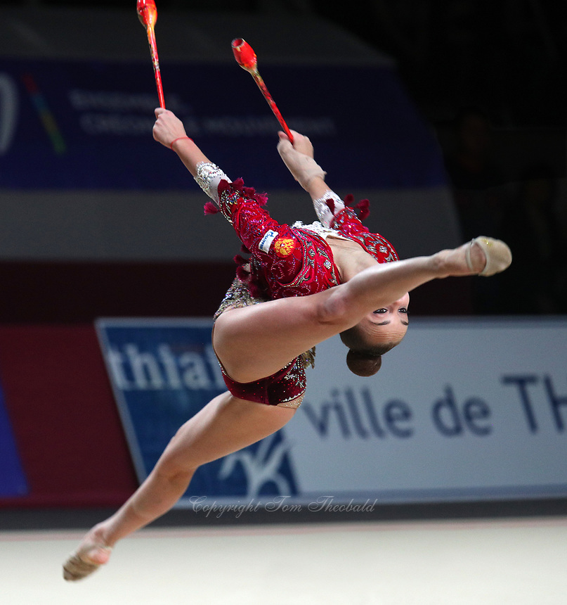 Arina Averina of Russia performs at Thiais Grand Prix on March 25, 2018.