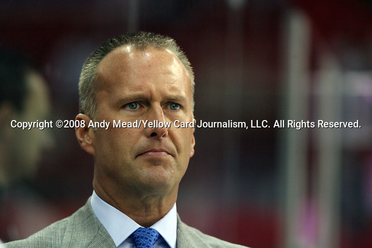 28 March 2008: Carolina Goaltending Coach and Director of Goalie Development Tom Barrasso. The Carolina Hurricanes defeated the Atlanta Thrashers 7-1 at the RBC Center in Raleigh, NC in a 2007-08 National Hockey League regular season game.
