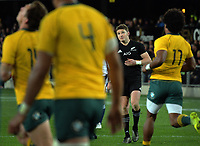 Beauden Barrett watches his kick for goal during the Rugby Championship and Bledisloe Cup rugby match between the New Zealand All Blacks and Australia Wallabies at Forsyth Barr Stadium in Dunedin, New Zealand on Saturday, 26 August 2017. Photo: Dave Lintott / lintottphoto.co.nz