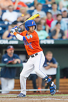 Florida Gators second baseman Dalton Guthrie (5) at bat against the Virginia Cavaliers in Game 13 of the NCAA College World Series on June 20, 2015 at TD Ameritrade Park in Omaha, Nebraska. The Cavaliers beat the Gators 5-4. (Andrew Woolley/Four Seam Images)