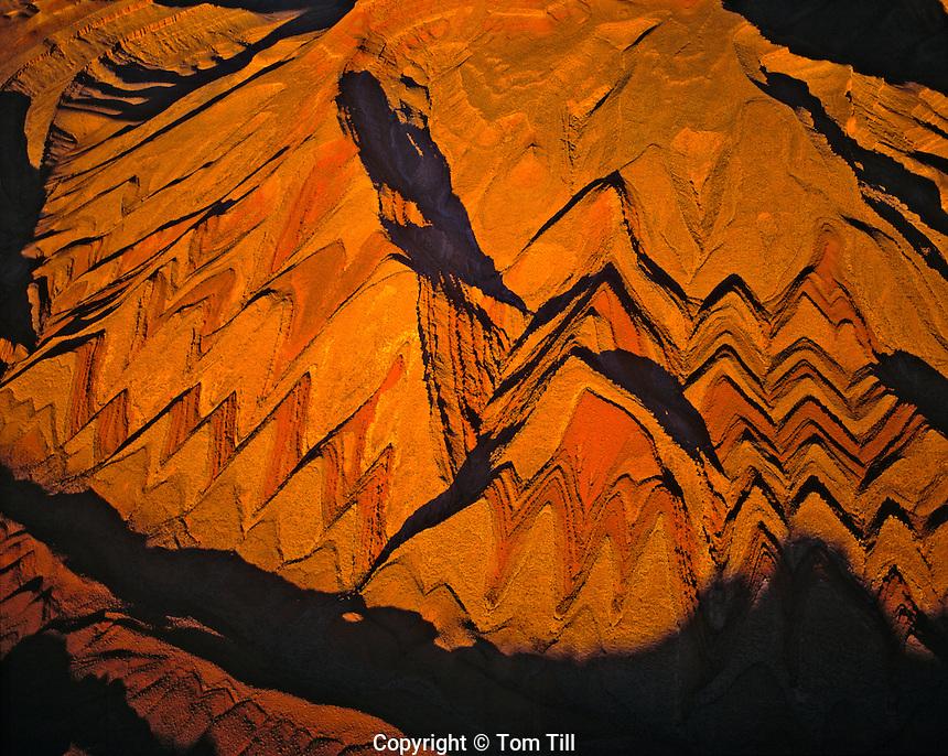 Aerial view of Raplee Anticline  San Juan River, Utah  Eroded uplift
