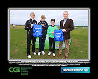 Dun laoghaire Golf Club boys With Kate Wright CGI and Brendan Byrne Bank of Ireland.<br /> Junior golfers from across Leinster practicing their skills at the regional finals of the Dubai Duty Free Irish Open Skills Challenge supported by Bank of Ireland at the Heritage Golf Club, Killinard, Co Laois. 2/04/2016.<br /> Picture: Golffile | Fran Caffrey<br /> <br /> <br /> All photo usage must carry mandatory copyright credit (© Golffile | Fran Caffrey)