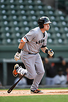 First baseman Ryan Kirby (9) of the Augusta GreenJackets bats in a game against the Greenville Drive on Wednesday, April 25, 2018, at Fluor Field at the West End in Greenville, South Carolina. Augusta won, 9-2. (Tom Priddy/Four Seam Images)