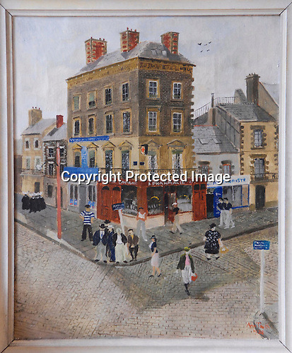 Market Day Alencon by Ann Tooth 1938. Original label £18.18 Mrs Ann Cubitt, hendrick House, Boxford Nt Colchester.