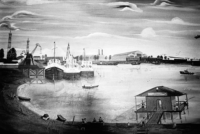 Kazakhstan. Aralsk. Town hall. Painting of the Aral Sea and the harbour in 1950- 1960. The drawing shows the sea and its water before the the world's man-made environmental disaster with the dried up Aral Sea due to overuse of water resources during the time of former Soviet Union. The causes were human and environmental effects of industrial pollution with consequences for the Aral sea to dry up.  © 2008 Didier Ruef ..... ..