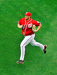 19 June 2011: Washington Nationals' pitcher Todd Coffey prints to the mound during a game against the Baltimore Orioles in a Father's Day matchup at Nationals Park in Washington, District of Columbia. The Orioles defeated the Nationals 7-4 in inter-league play, ending Washington's 8-game winning streak. Mandatory Credit: Ed Wolfstein Photo