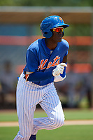 GCL Mets shortstop Ronny Mauricio (2) runs to first base during a game against the GCL Marlins on August 3, 2018 at St. Lucie Sports Complex in Port St. Lucie, Florida.  GCL Mets defeated GCL Marlins 3-2.  (Mike Janes/Four Seam Images)