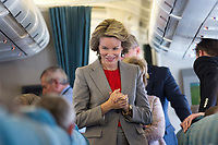 King Philippe & Queen Mathilde of Belgium on the plane while going on a State Visit to India