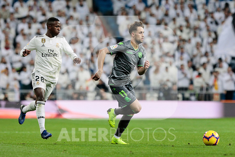 Real Madrid's Vinicius Jr. and Real Sociedad's Adnan Januzaj during La Liga match between Real Madrid and Real Sociedad at Santiago Bernabeu Stadium in Madrid, Spain. January 06, 2019. (ALTERPHOTOS/A. Perez Meca)<br />  (ALTERPHOTOS/A. Perez Meca)