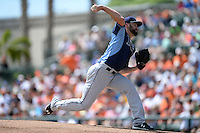 Tampa Bay Rays pitcher Nathan Karns (51) during a Spring Training game against the Baltimore Orioles on March 14, 2015 at Ed Smith Stadium in Sarasota, Florida.  Tampa Bay defeated Baltimore 3-2.  (Mike Janes/Four Seam Images)