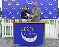 Kate Leahy receives her trophy for second place in The Shadwell Racing Excellence Apprentice Series 2019 during Racing at Salisbury Racecourse on 5th September 2019