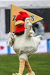 The Zaxby's mascot in action during the Heart of Dallas Bowl Bowl game between the Illinois Fighting Illini and the Louisiana Tech Bulldogs at the Cotton Bowl Stadium in Dallas, Texas. Louisiana defeats Illinois 35 to 18.