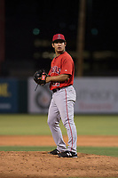AZL Angels relief pitcher Kiber Arvelaez (31) prepares to deliver a pitch during an Arizona League game against the AZL Indians 2 at Tempe Diablo Stadium on June 30, 2018 in Tempe, Arizona. The AZL Indians 2 defeated the AZL Angels by a score of 13-8. (Zachary Lucy/Four Seam Images)