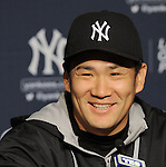 Masahiro Tanaka (Yankees), APRIL 9, 2014 - MLB : New York Yankees starting pitcher Masahiro Tanaka attends a press conerence after the MLB game between the New York Yankees and the Baltimore Orioles at Yankee Stadium in The Bronx, New York, United States. (Photo by AFLO)