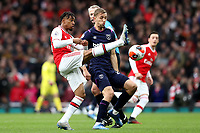 7th March 2020; Emirates Stadium, London, England; English Premier League Football, Arsenal versus West Ham United; Reiss Nelson of Arsenal miss times a clearance