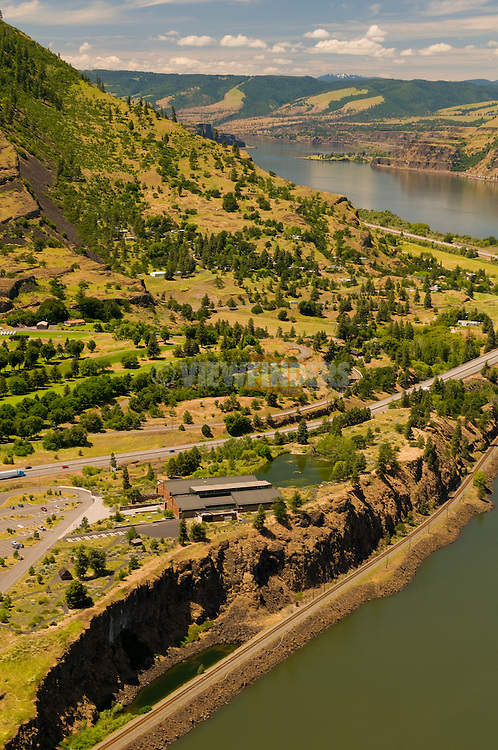 Aerial View of The Columbia Gorge Discovery Center and Wasco County Museum, The Dalles, Oregon