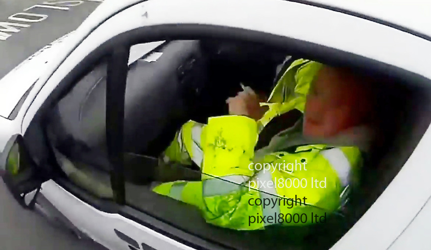 Youtube video shows: Shocking moment cyclist is knocked off his bike and then assaulted by swearing van driver - Essex police say they are aware but are waiting for the victim to come forward.<br /> <br /> Taylor's landscape van drives close to cyclist then knocks him off. The shaven headed thug of a driver then jumps out and attacks the cyclist <br /> <br /> <br /> <br /> Picture by Pixel8000 07917221968