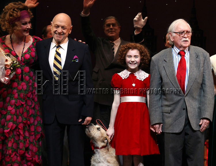 Katie Finneran, Charles Strouse, Merwin Foard, Lilla Crawford, Sunny, Thomas Meehan during the Broadway Opening Night Performance Curtain Call for 'Annie' at the Palace Theatre in New York City on 11/08/2012