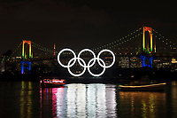 30th March 2020; Olympic rings are illuminated during an event to mark six months before the opening of the Tokyo 2020 Olympic Games in Tokyo, Japan, which has now been rescheduled for 23rd July 2021