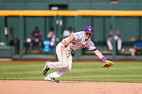 LSU Tigers shortstop Alex Bregman (8) attempts to field a ground ball against the TCU Horned Frogs in the NCAA College World Series on June 14, 2015 at TD Ameritrade Park in Omaha, Nebraska. TCU defeated LSU 10-3. (Andrew Woolley/Four Seam Images)