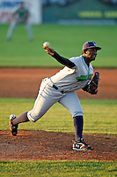 June 26, 2009:  Pitcher Arquimedes Caminero of the Jamestown Jammers delivers a pitch during a game at Dwyer Stadium in Batavia, NY.  The Jammers are the NY-Penn League Short-Season Class-A affiliate of the Florida Marlins.  Photo by:  Mike Janes/Four Seam Images