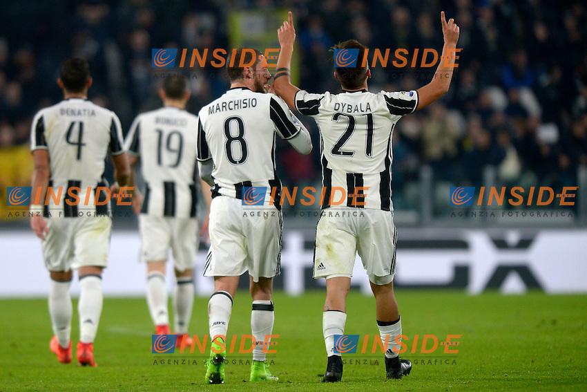 Esultanza Gol Paulo Dybala Juventus Goal celebration with Claudio Marchisio <br /> Torino 17-02-2017 Juventus Stadium Football Calcio Serie A 2016/2017 Juventus - Palermo<br /> Foto Filippo Alfero Insidefoto