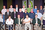 ..Launching the O'Donoghue cup in the Gleneagle Hotel on Thursday was front row l-r: Peggy Horan, Dermot Griffin Chairman, Eamon Quigley Aquila Club, Tony Darmody. Back row: Dermot O'Mahony Firies, Spa, John Barry Gneeveguilla, Johnny Brosnan Currow, Vince Casey Dr Crokes, John Somers Currow, Michael O'Donoghue Scartaglen,Johnny Callaghan Cordal, Denny Murphy Legion, Shane O'Callaghan Kilcummin, John Griffin Listry, Donie Casey Scartaglen and John Dineen Fossa  ..