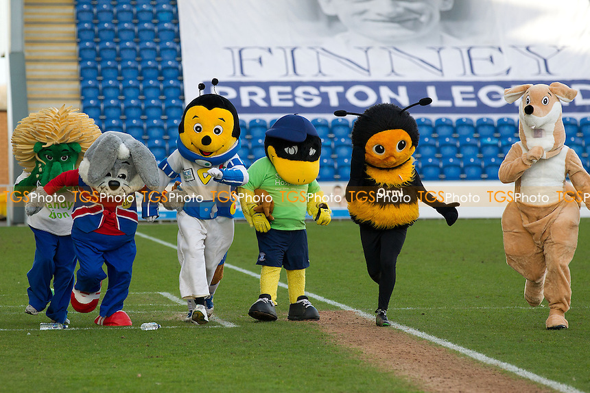 The annual mascot race in support of St Helena Hospice was held - Colchester United vs Preston North End - Sky Bet League One Football at the Weston Homes Community Stadium, Colchester, Essex - 22/02/14 - MANDATORY CREDIT: Ray Lawrence/TGSPHOTO - Self billing applies where appropriate - 0845 094 6026 - contact@tgsphoto.co.uk - NO UNPAID USE