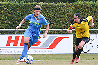 20190907 – PITTEM , BELGIUM : Egem's Eva Verhulst (r) pictured with Saint-Ghislain's Elodie Hansenne (left) during a women soccer game between Dames DVK Egem  and Union Saint-Ghislain Tertre-Hautrage  on the second round matchday of the Belgian Women's Cup – Beker van Belgie -  season 2019-2020 , saturday 7th September  2019  in Pittem  , Belgium  .  PHOTO SPORTPIX.BE | DAVID CATRY