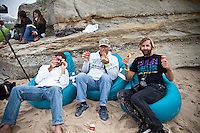 Photographers JEFF FLINDT (USA),  PETER JOLI WILSON (AUS) and JACK ENGLISH (USA) enjoy coffee and croissants while waiting for the fog to lift.  BELGAS, Peniche/Portugal (Monday, October 25, 2009) - Both the Rip Curl Pro Search and the Rip Curl Pro Women's Search events were called off today due to heavy fog which casued lack of visibility...Orgainisers were ready to start heat one of Round 3 of the mens event when fog rolled in and shut down the event..Event No. 9 of 10 on the 2009 ASP World Tour, the Rip Curl Pro Search had intentions of pushing through Round 3 today, but as conditions made competition impossibel...The contest is hosting the world's best surfers from October 19 - 30, 2009 and will run when conditions are favorable...Event No. 9 of 10 on the 2009 ASP World Tour, the Rip Curl Pro Search is poised to deliver high drama with projected sizable swells setting the scene for a possible ASP World Title showdown and several requalification campaigns....Photo: Joliphotos.com