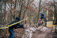 mid-race air by Daniel Tulett (GBR/U23/TPracing) <br /> <br /> Superprestige Zonhoven (BEL) 2018