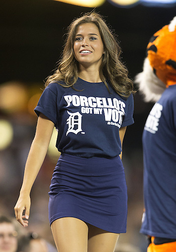 July 08, 2014:  Detroit Tigers Energy Squad member performs during MLB game action between the Los Angeles Dodgers and the Detroit Tigers at Comerica Park in Detroit, Michigan. The Tigers defeated the Dodgers 14-5.