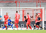 27.06.2020, Stadion an der Wuhlheide, Berlin, GER, DFL, 1.FBL, 1.FC UNION BERLIN  VS. Fortuna Duesseldorf , <br /> DFL  regulations prohibit any use of photographs as image sequences and/or quasi-video<br /> im Bild 1: 0 durch Anthony Ujah (1.FC Union Berlin #11), Michael Rensing (Fortuna Duesseldorf #1)<br /> <br /> <br />      <br /> Foto © nordphoto / Engler