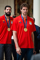 The reception of Prime Minister Mariano Rajoy to Spain national basketball team gold at EuroBasket 2015 at Moncloa Palace in Madrid, 21 September, 2015.<br /> Pau Gasol.<br /> (ALTERPHOTOS/BorjaB.Hojas) /NortePhoto.com