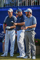Padraig Harrington (IRL), Shane Lowry (IRL), and Louis Oosthuizen (RSA) share a laugh before Round 3 of the Zurich Classic of New Orl, TPC Louisiana, Avondale, Louisiana, USA. 4/28/2018.<br /> Picture: Golffile | Ken Murray<br /> <br /> <br /> All photo usage must carry mandatory copyright credit (&copy; Golffile | Ken Murray)