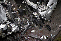The remains of a Vauxhall Nova and Ford Focus following head on collision..©shoutpictures.com..john@shoutpictures.com