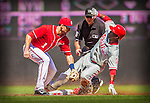 15 September 2013: Philadelphia Phillies outfielder Roger Bernadina slides safely into second ahead of the throw to Stephen Lombardozzi. The double lead off the third inning against the Washington Nationals at Nationals Park in Washington, DC. The Nationals took the rubber match of their 3-game series 11-2 to keep Washington's wildcard hopes alive. Mandatory Credit: Ed Wolfstein Photo *** RAW (NEF) Image File Available ***