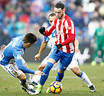 CD Leganes' Unai Bustinza (l) and Nabil El Zhar (c) and Sporting de Gijon's Burgui during La Liga match. February 12,2017. (ALTERPHOTOS/Acero)