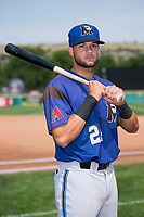 Missoula Osprey third baseman Joey Rose (24) poses for a photo prior to the game against the Billings Mustangs at Dehler Park on August 20, 2017 in Billings, Montana.  The Osprey defeated the Mustangs 6-4.  (Brian Westerholt/Four Seam Images)
