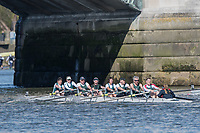 Mortlake/Chiswick, GREATER LONDON. United Kingdom. Maidenhead Rowing Club. Mx.MasE/F.8+ (E), competing in the 2017 Vesta Veterans Head of the River Race, The Championship Course, Putney to Mortlake on the River Thames.<br />