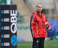 Twickenham, England. England head coach Stuart Lancaster during the England training and Media session during the England captains run for the QBE Internationals England v Australia at Twickenham Stadium on 17 November. Twickenham, England, November 16. 2012.