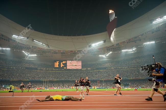 Men's 200m final, Usain Bolt (Jamaica) - gold, National Stadium, Summer Olympics, Beijing, China, August 20, 2008