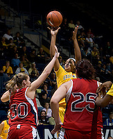 Justine Hartman of California shoots the ball during the game against St. Mary's at Haas Pavilion in Berkeley, California on November 15th, 2012.  California defeated St. Mary's, 89-41.