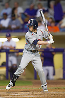 Auburn Tigers outfielder Ryan Tella #4 at bat against the LSU Tigers in the NCAA baseball game on March 22nd, 2013 at Alex Box Stadium in Baton Rouge, Louisiana. LSU defeated Auburn 9-4. (Andrew Woolley/Four Seam Images).