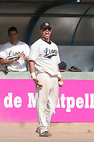 24 May 2009: Yann Dal Zotto of Savigny reacts in the dugout during the 2009 challenge de France, a tournament with the best French baseball teams - all eight elite league clubs - to determine a spot in the European Cup next year, at Montpellier, France. Rouen wins 7-5 over Savigny.
