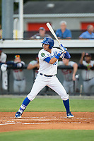 Jeison Guzman (13) of the Burlington Royals at bat against the Danville Braves at Burlington Athletic Stadium on August 12, 2017 in Burlington, North Carolina.  The Braves defeated the Royals 5-3.  (Brian Westerholt/Four Seam Images)
